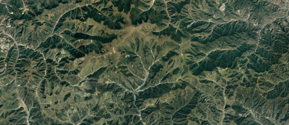Aerial shot of Mount Wutai