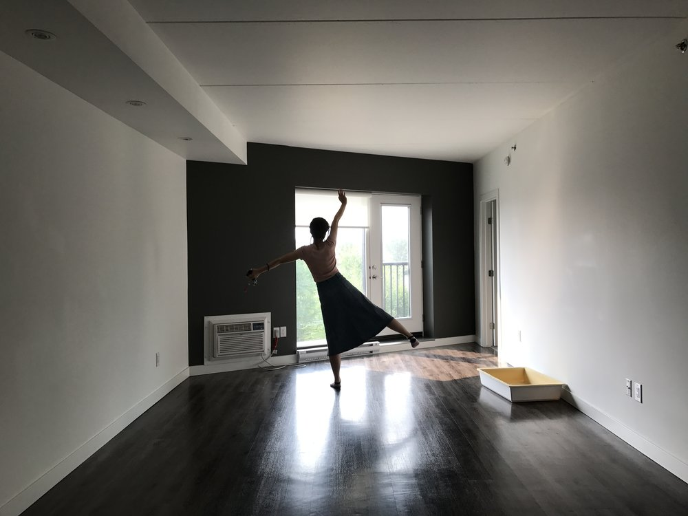 Moving out, August 2017, my room mate dancing again!