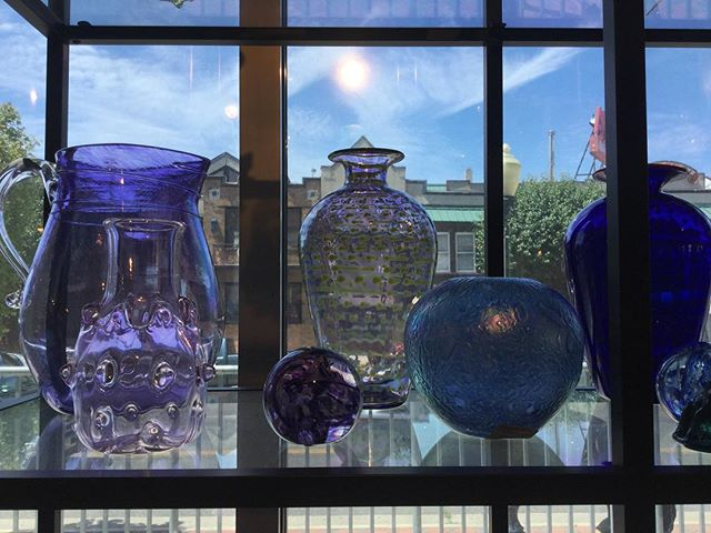 Come check out the beautiful hand-blown glassware from Wheaton Arts ! Through July it is on sale for 10% off, along with everything else in the Noyes Gift Shop! #artsgarageac #wheatonvillage #artac #itemoftheday #njarts #thisisac #visitac