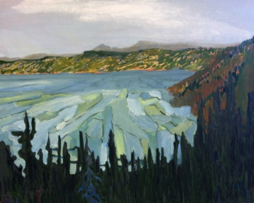 Wes sherman,  crater lake, oil on canvas