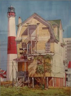Attilio Sinagra, Dilapidated home and lighthouse, Watercolor on paper
