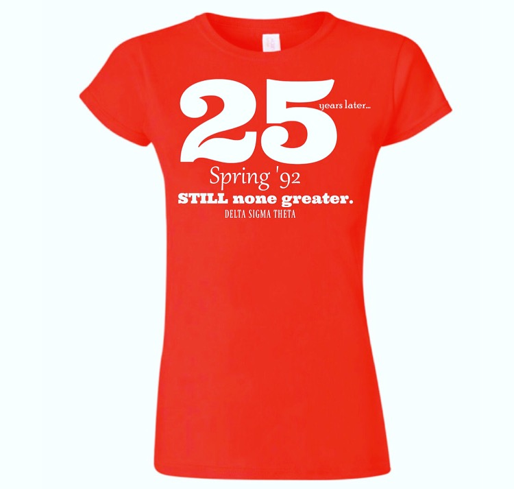 25 Years Later Red Tee Shirt - Available in both ladies' boyfriend cut (pictured above-up to 3XL) or regular cut (up to 5XL).