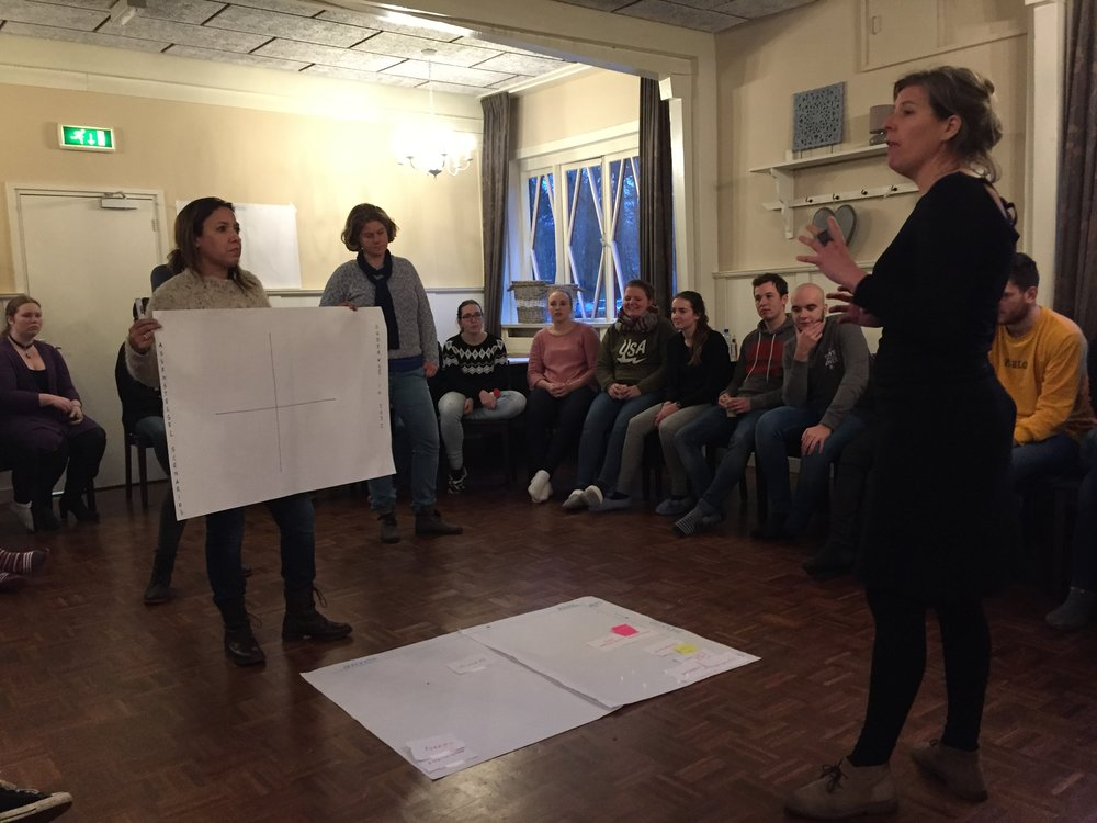 Teach the Future's Erica Bol in action during a Future Week at Windesheim university.