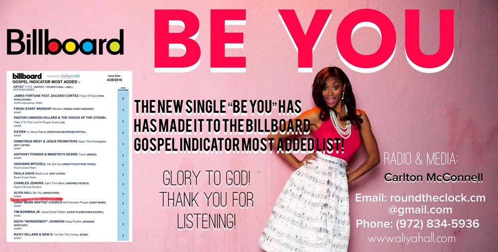 """The new single """"Be You"""" is on the Gospel Indicator Most Added Billboard list!"""