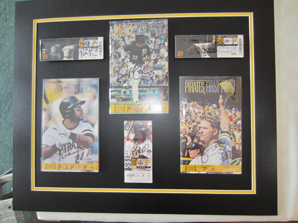 Pittsburgh Pirates Program and Ticket display