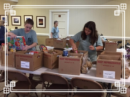 Packing boxes - Eastern Hills Baptist Church worked hard to help us sort items and then pack boxes during their summer 2017 youth choir and mission tour