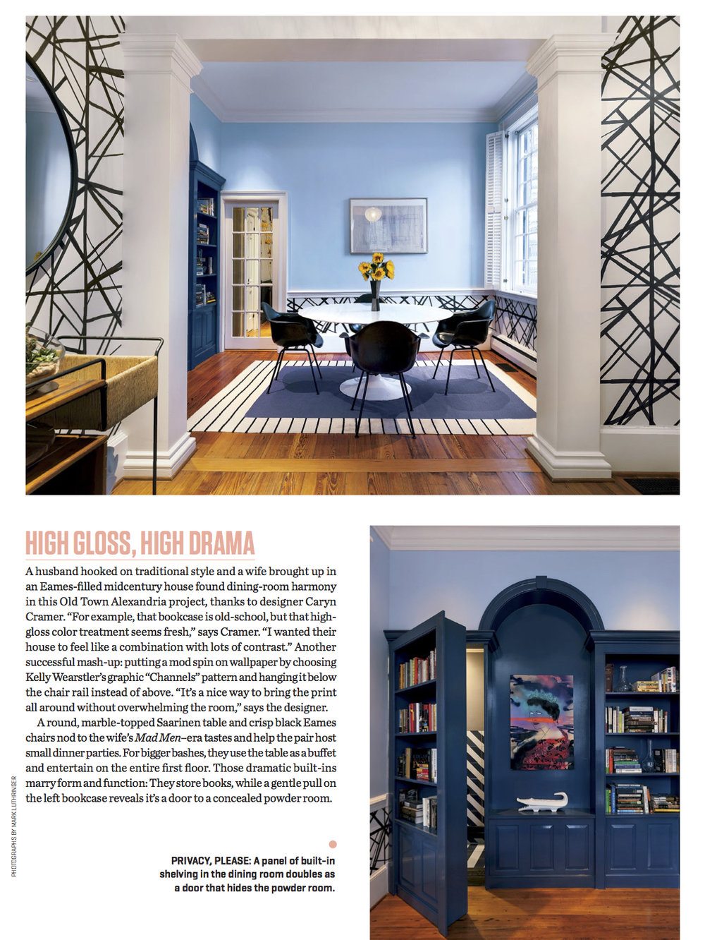 "WASHINGTONIAN, March 14 2018:  ""Look Inside These Three Gorgeous Dining Spaces"""
