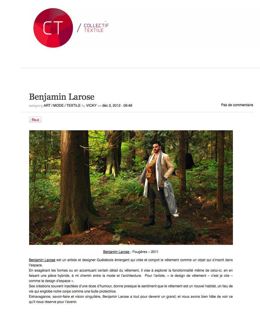 Benjamin Larose - Collectif Textile
