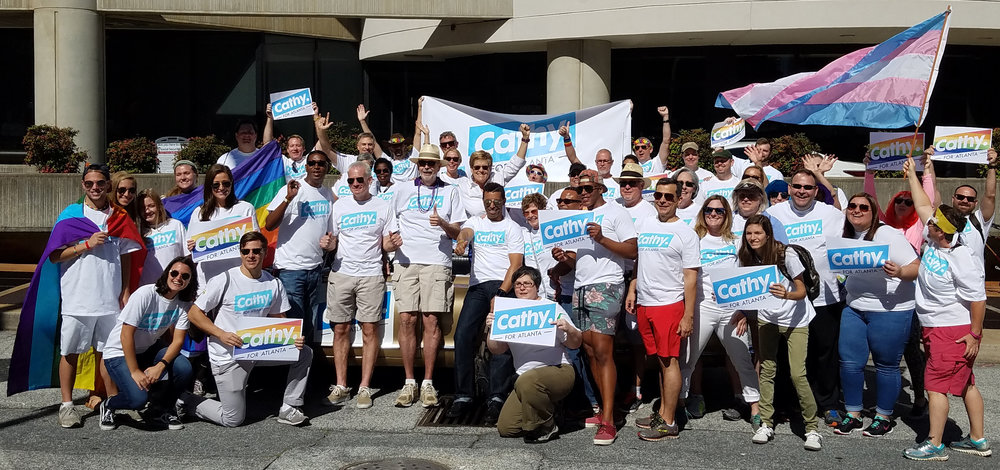 We tried to corral as many folks on Team Cathy as we could for a pre-parade picture! What a great crew!
