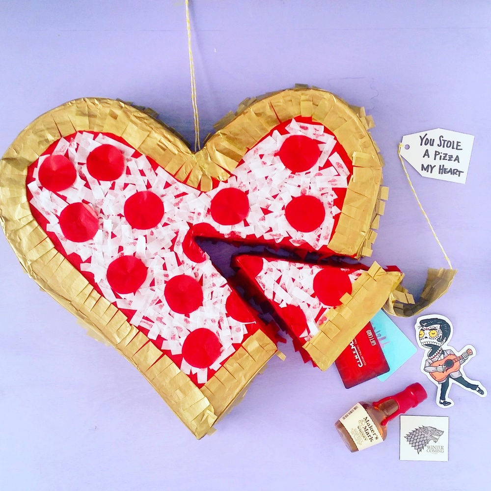 There's no better way to show someone you love them then by letting them beat up their own pinata. Not just a delicious pizza pinata filled with their favorite treats, but also a detachable slice that doubles as a gift box. Simple pull the string to expose your goods ;) This is such a fun present and not overly difficult. Perfect for Valentine's, anniversaries, birthday's or even a just because gift.