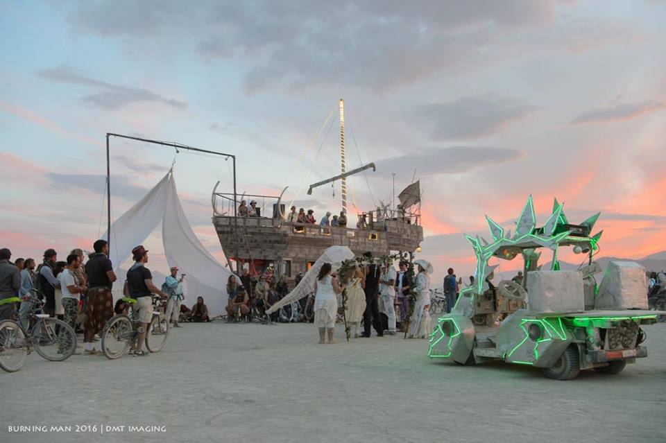 The wedding party with the Anostraca in the background and Stegatron in the foreground at sunset. Photo by Michael Troutman