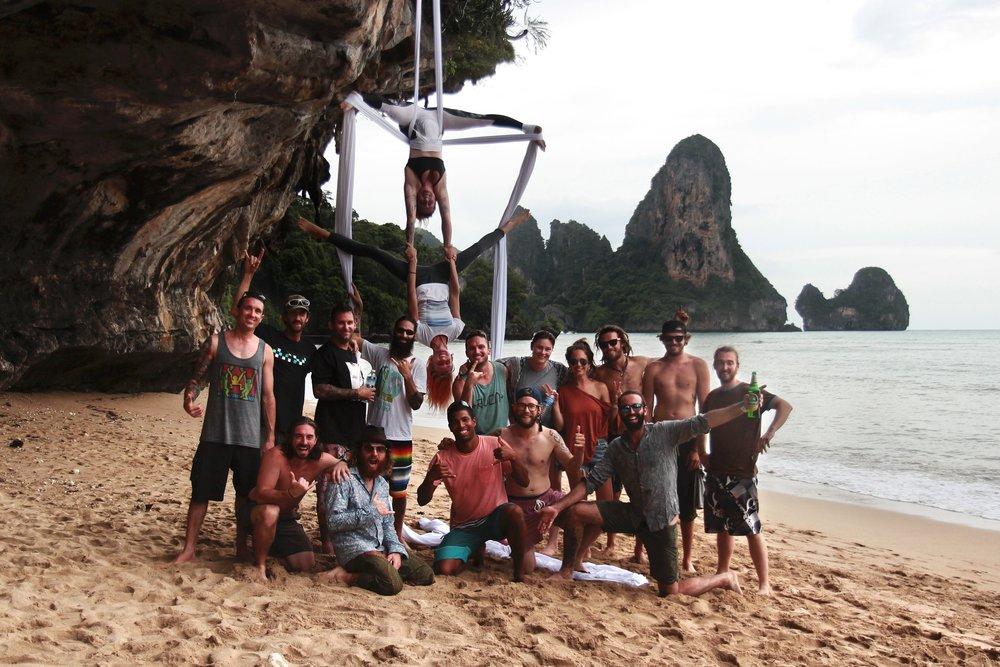 BASE crew at the Tonsai caves near Freedom Bar