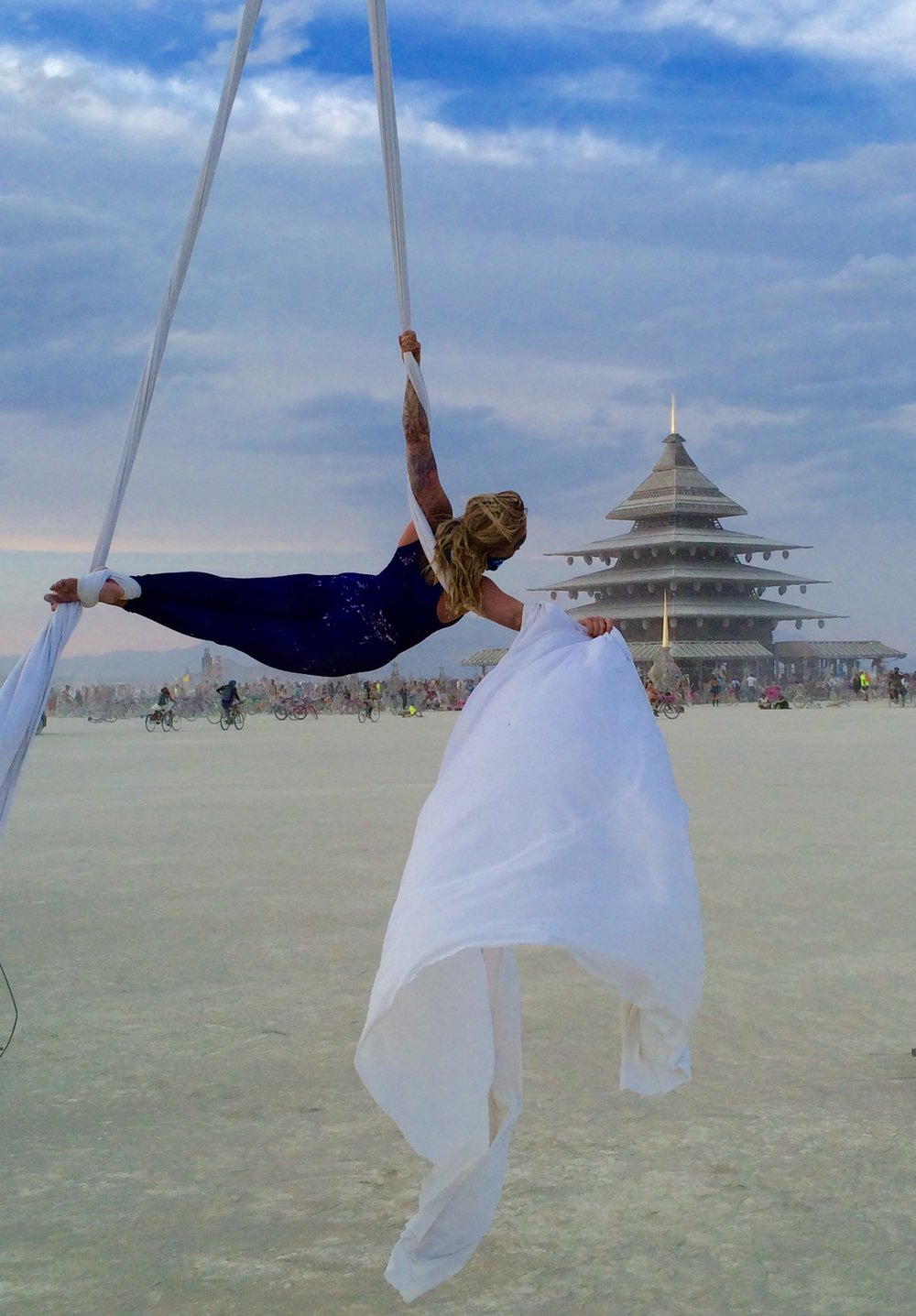 Aerial performance at the Temple at burning man 2016 )'(
