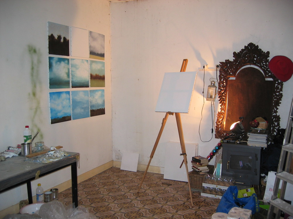 Working in the studio in Septeuil.