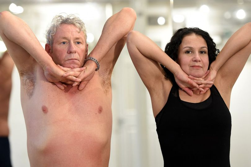 Terence Teven with yoga techer Lou Prendergast (Photo: Garry F McHarg/Daily Record)