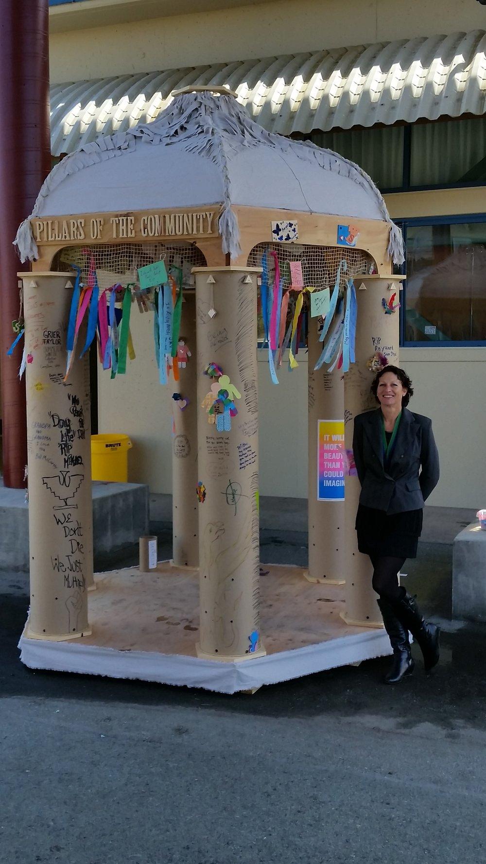 Pillars of the Community - Participatory memorial temple. Concept, design, fabrication, workshops, bonfire event.