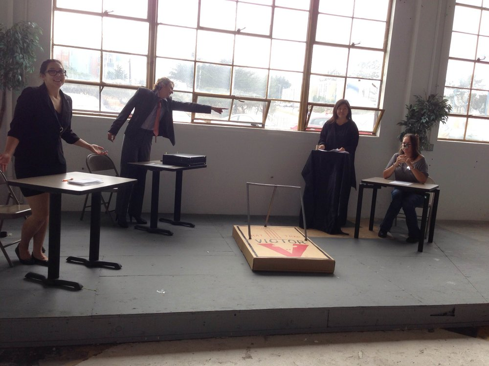 Nature on trial - Provisioning all costume, set, and properties.Concept, design, and fabrication of trap (a 5-minute play written, produced, and performed in 3 days --no rats were harmed in the making of this production).