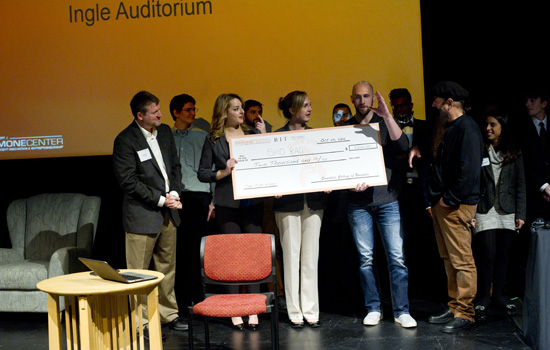 Winners recieve award at RIT's Tiger Tank.