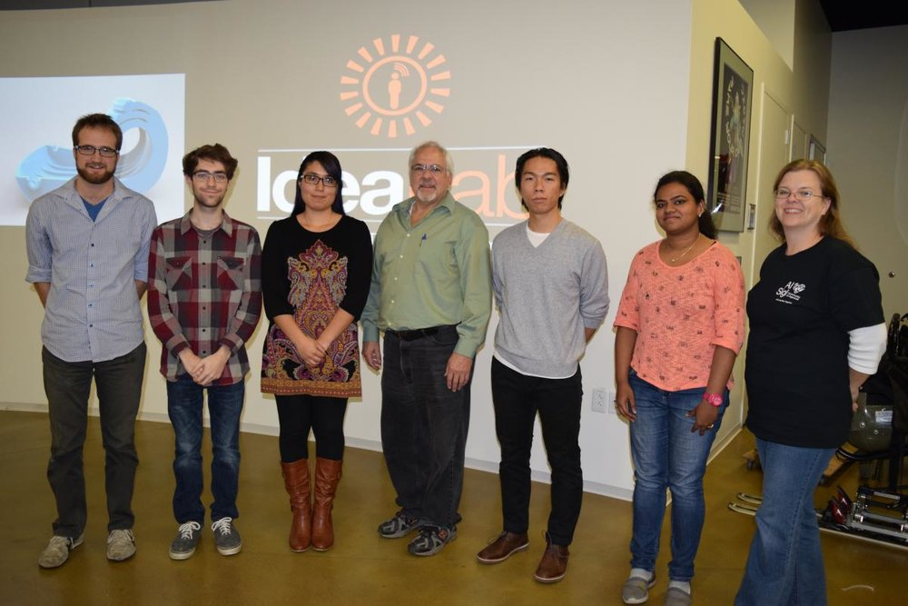 Team 7 members from left to right: Brad Dunn (design mentor), Mark Brown (student), Crystal Mendoza Paulin (engineering mentor), Gerald Garavuso (team coach), Jiameng Huang (student), Gopika Nair (student), Peggy Fortune (Al Sigl mentor).