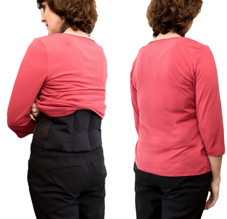 Photo of woman wearing an UnderCool under her shirt. The cooling vest is virtually undectable.