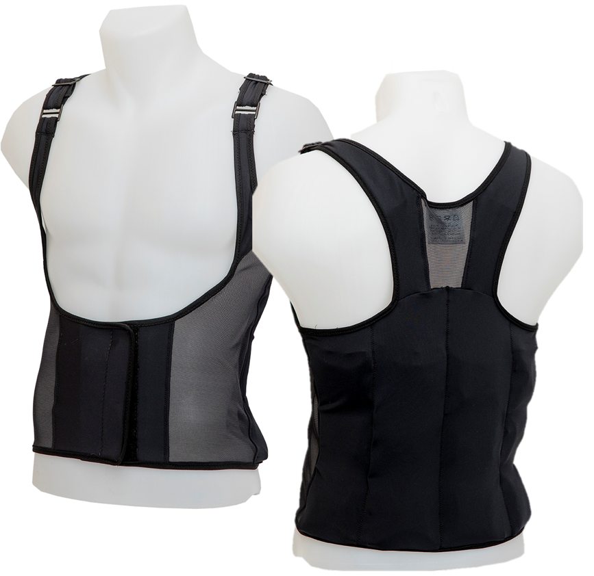 Front and back view of UnderCool cooling vest on male model.