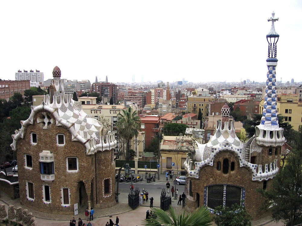 Aerial view of Park Guell in Barcelona, Spain.