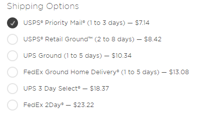 Above image is an example of shipping options; prices will not be the same for everyone.