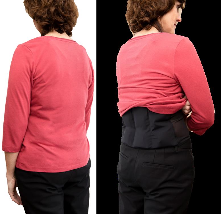 Model wears UnderCool under shirt.