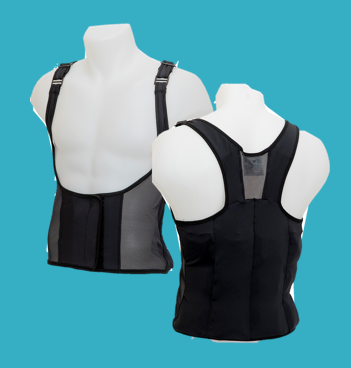 Front and back view of UnderCool cooling vest.