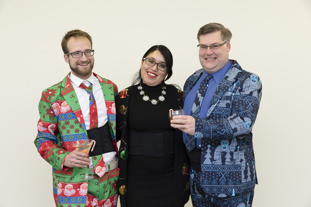 From left to right: founders Brad, Crystal, and Kurtis at the ThermApparel Holiday Party.