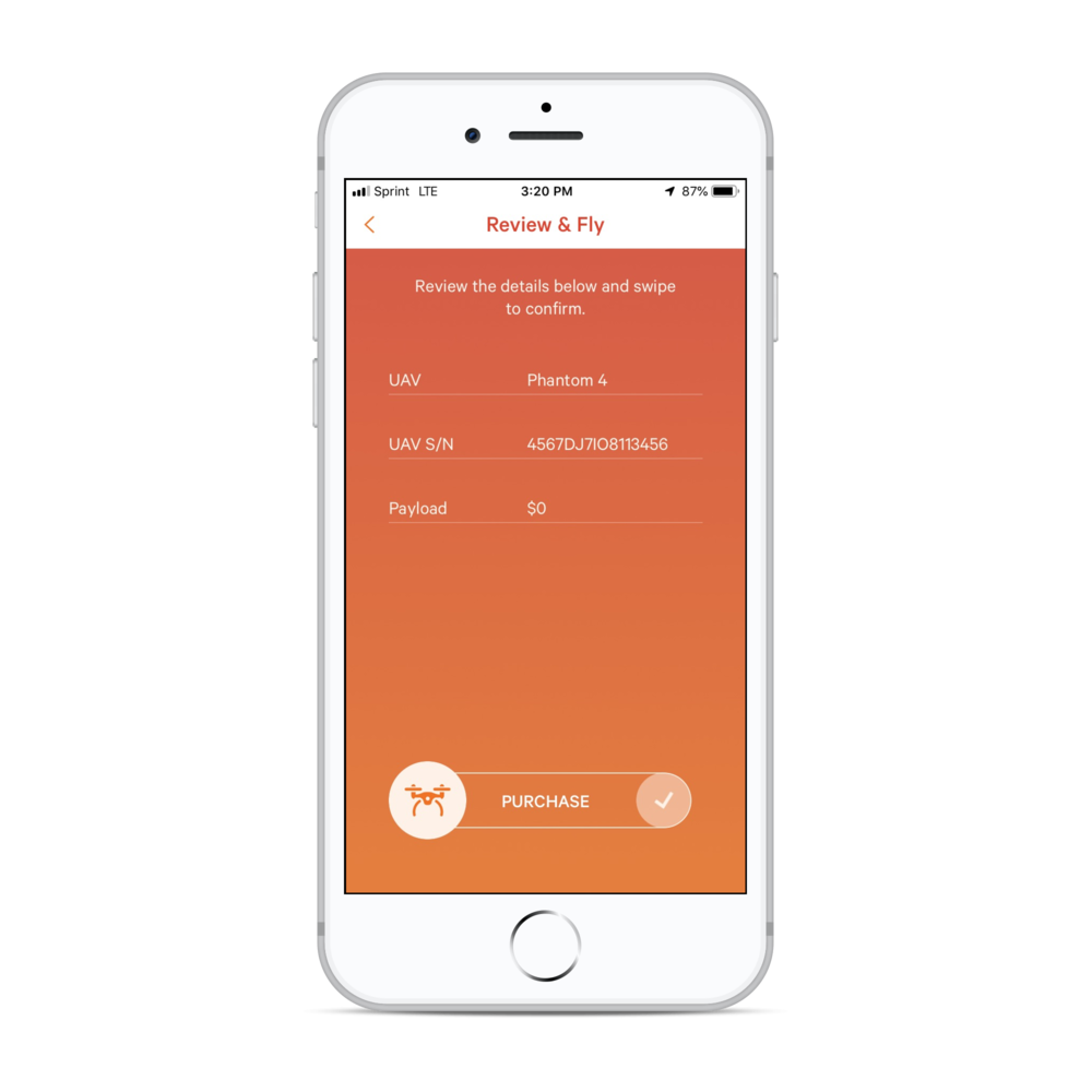 Swipe to activate - Review flight details before each mission, and simply swipe to confirm full-flight coverage.