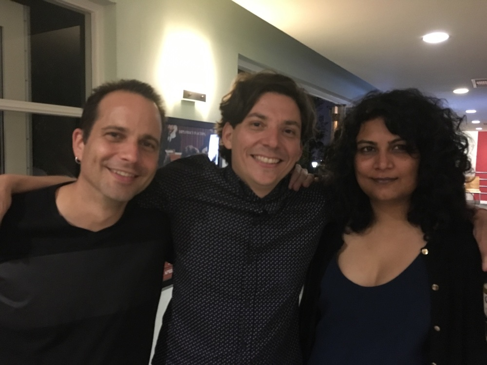 """The Atomic couple!"" screens at AFI -(l-r) sound designer/re-recording mixer William Tabanou, director  Rodrigo Espinosa and editor Anisha Acharya"