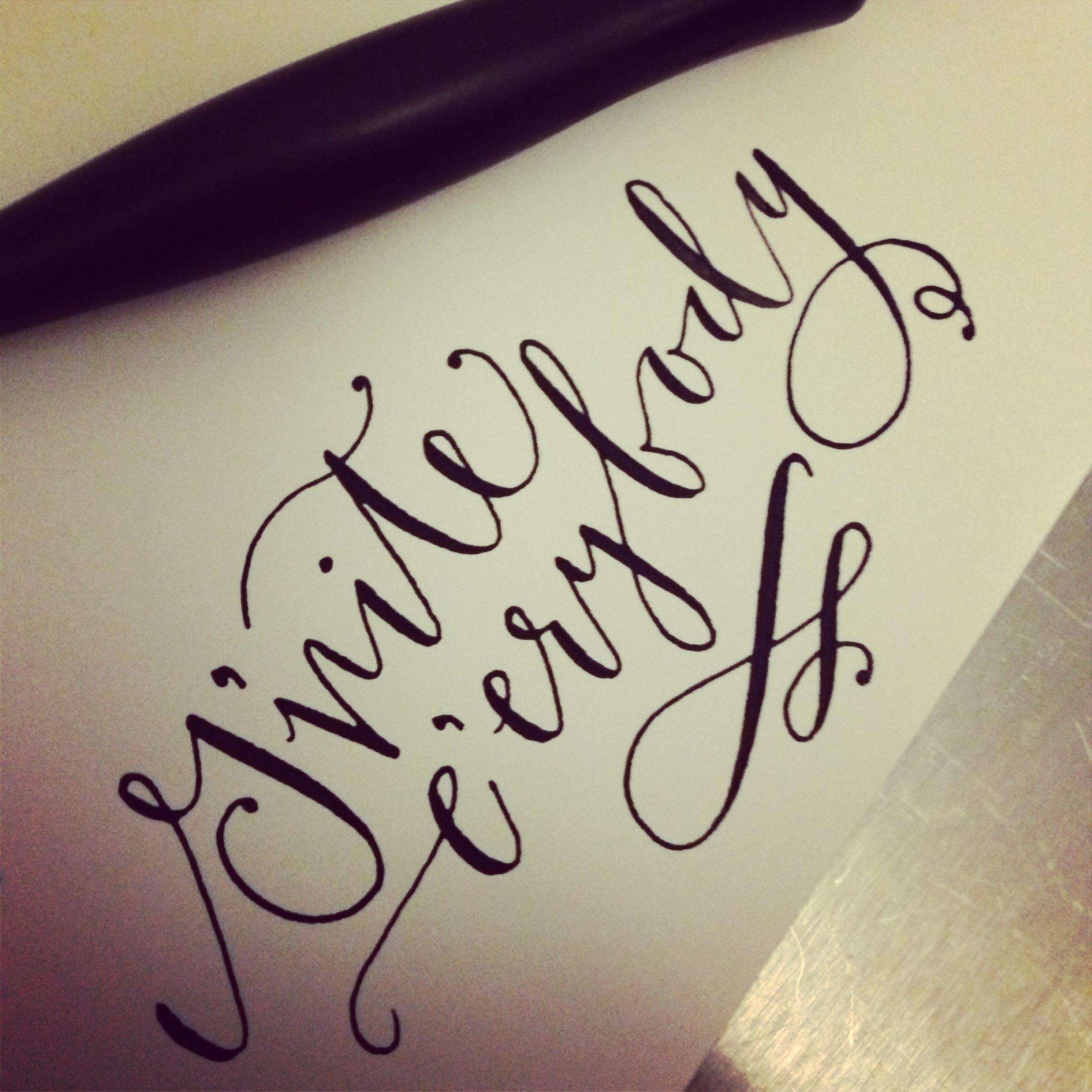 Gnite e'erybody calligraphy