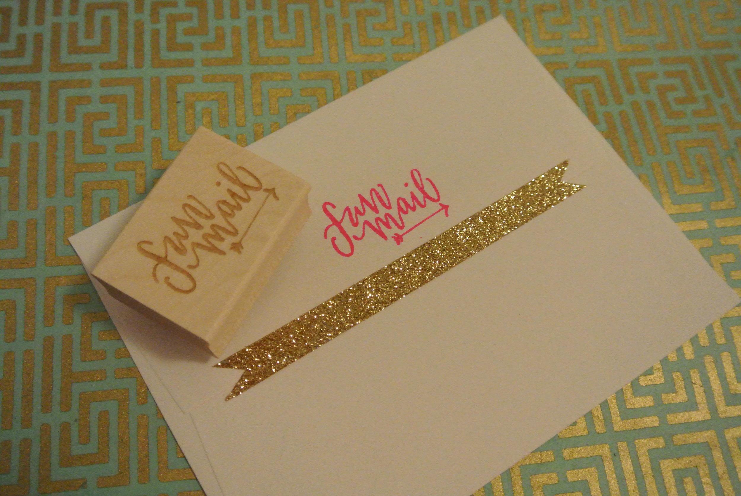 fun mail stamp on envelope