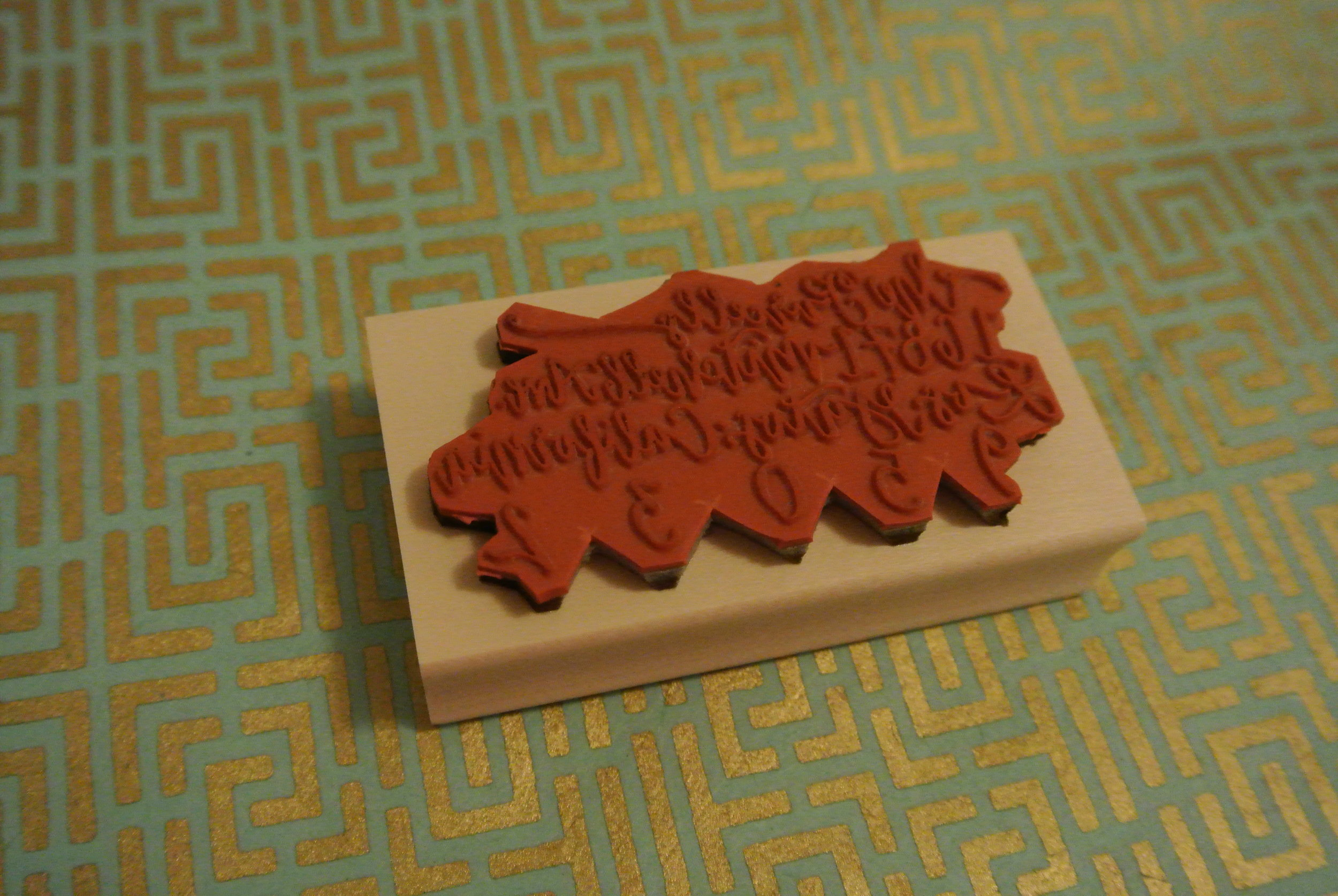back of the Purcells wooden stamp