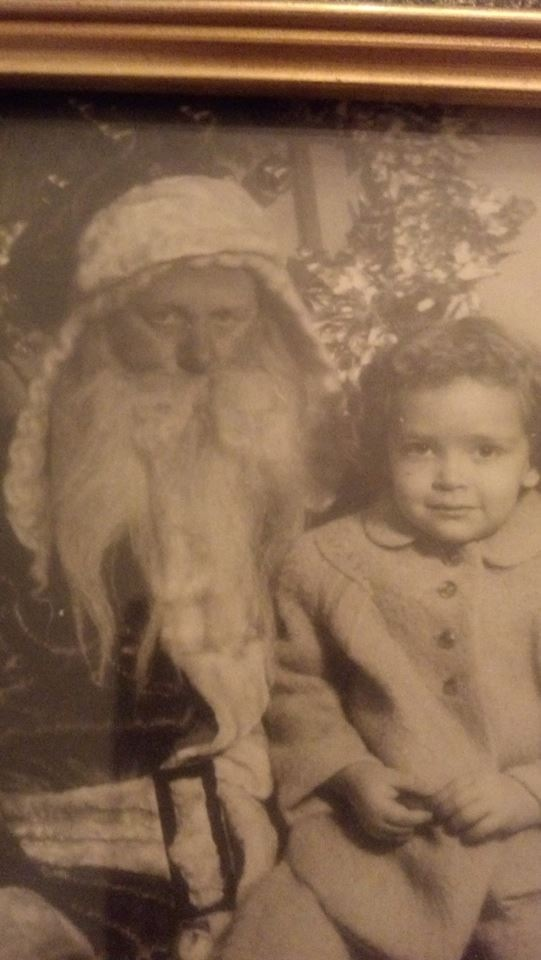 Mom on Santa's lap 1950