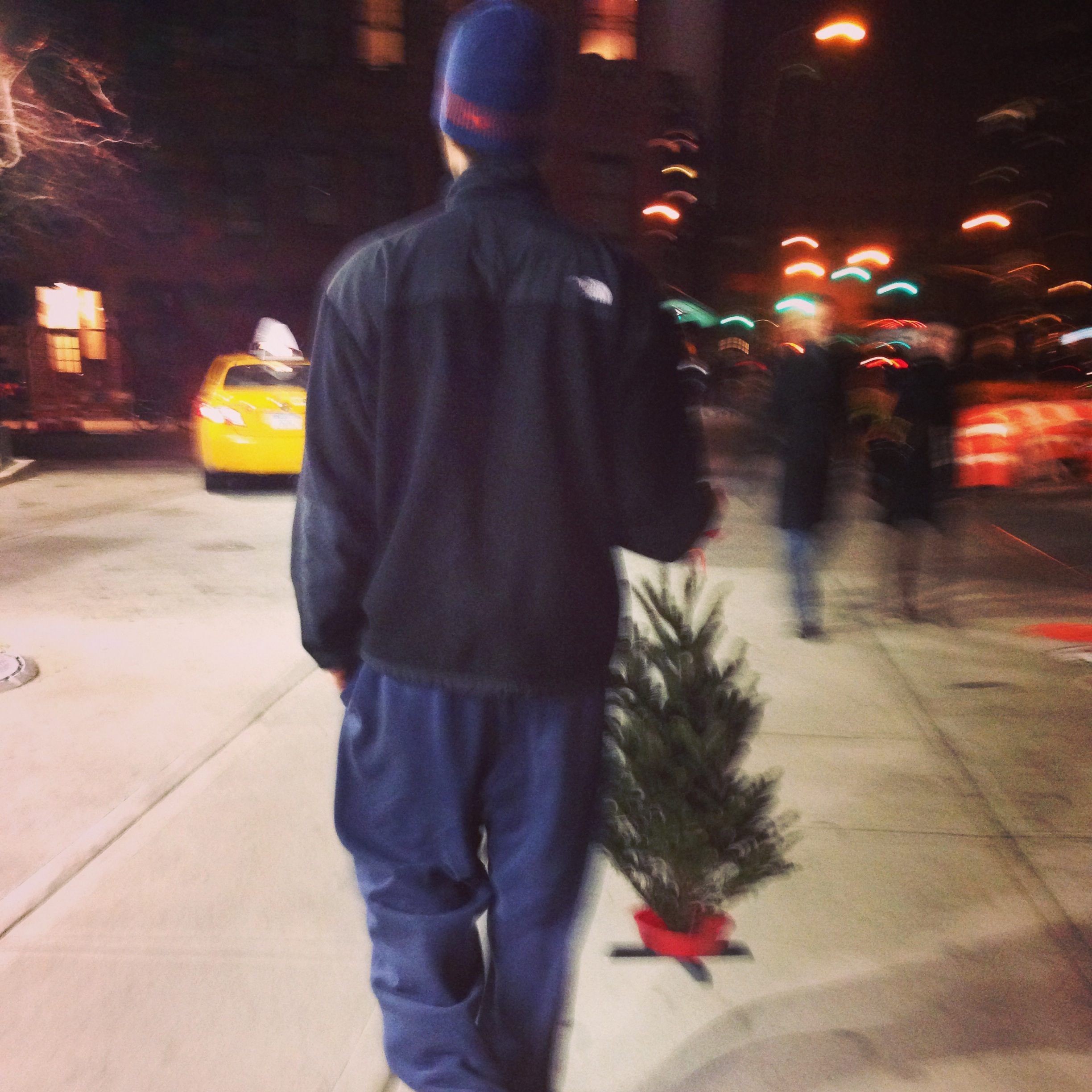 Patrick carrying our Christmas tree