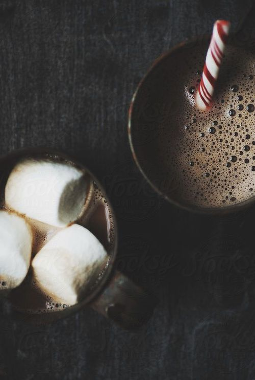 hot chocolate, marshmallows, peppermint stick