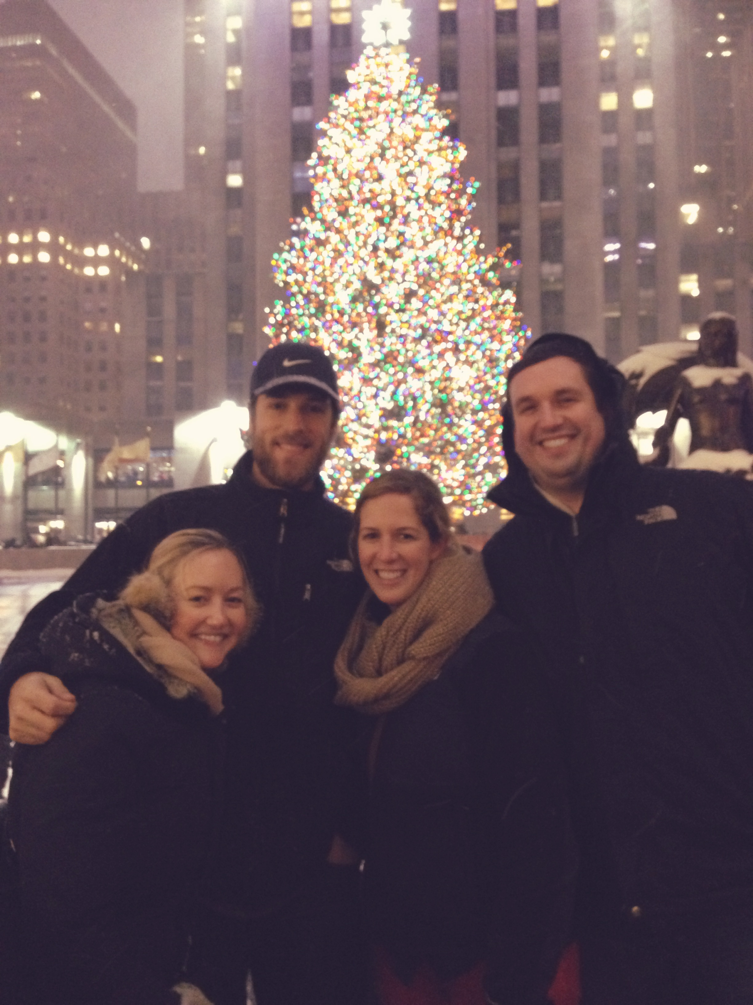 with Patrick, Meaghan, and Scott in front of the Rock Center Tree Dec 2013