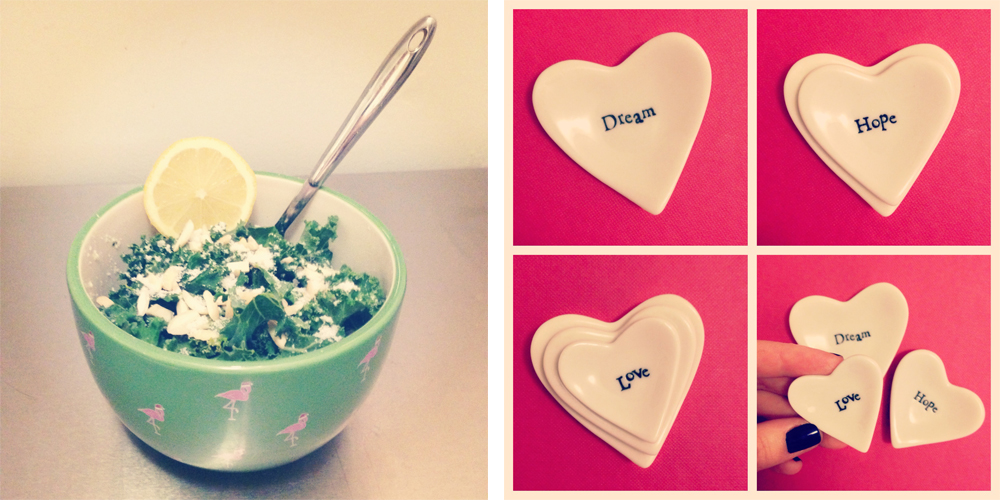 Kale salad and heart dishes