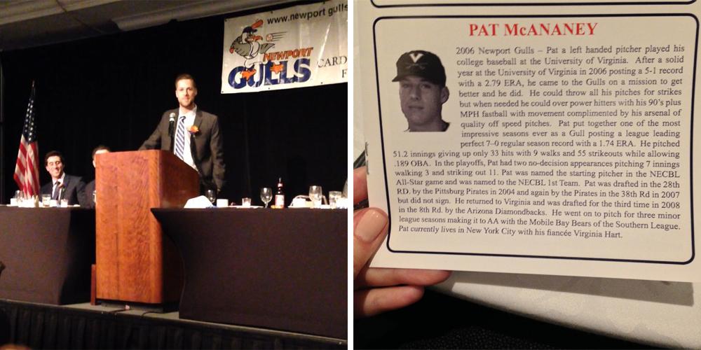 Patrick giving his speech, Newport Gulls Hall of Fame 2014