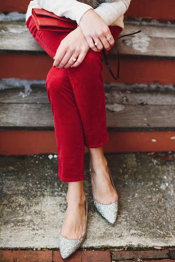 red pants, sparkle shoes
