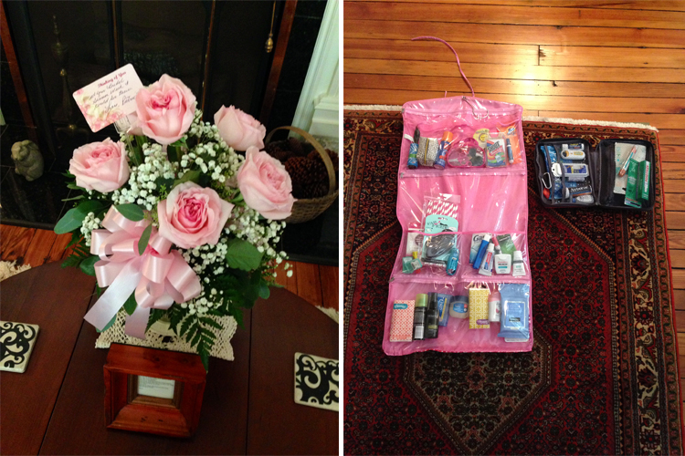flowers and emergency kit