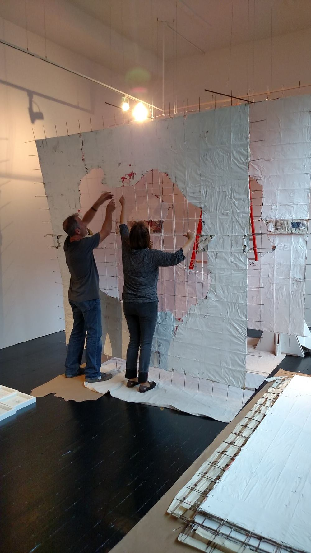andrea meyers and myself installing the piece