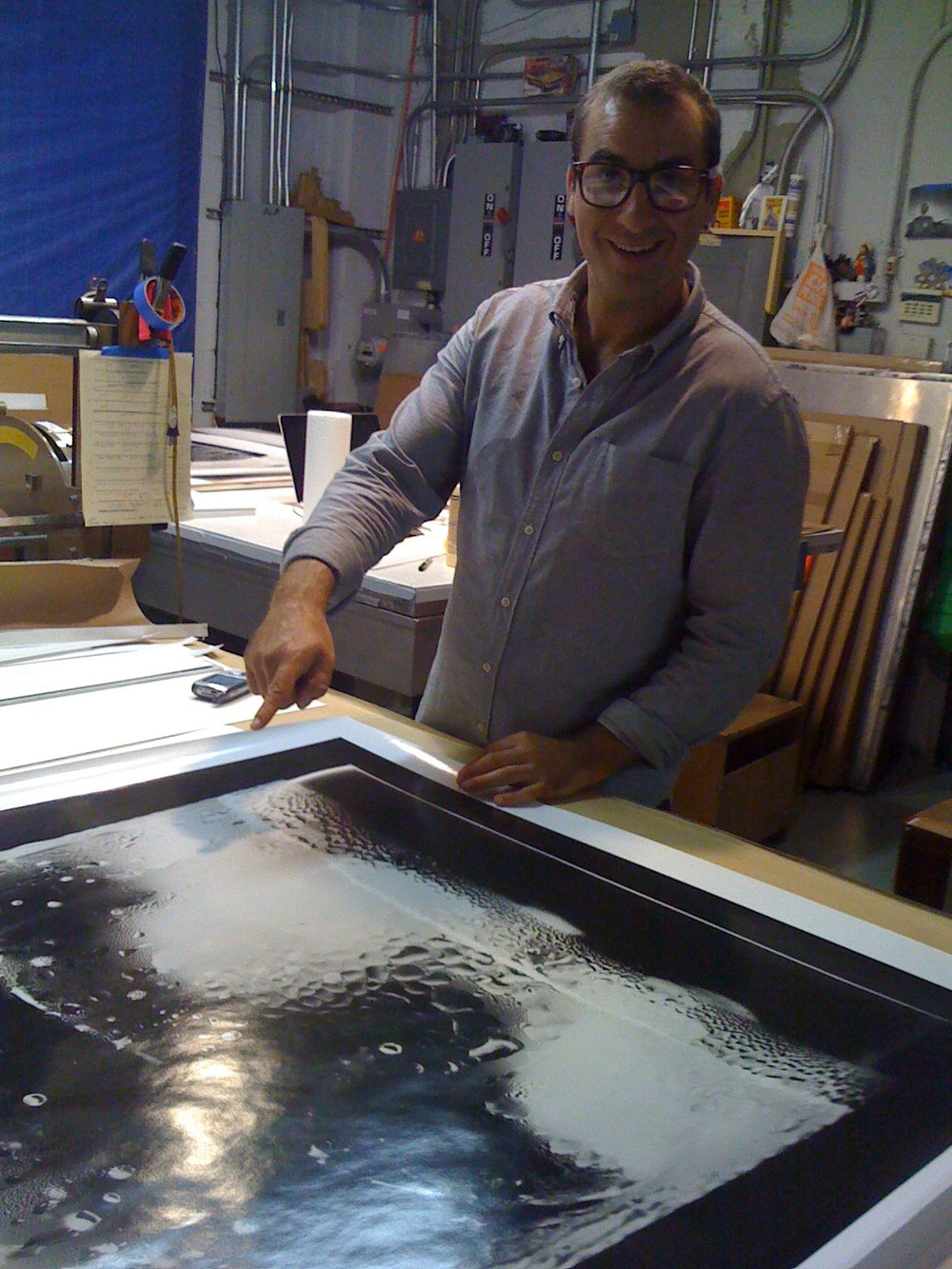 "Sam Merians of Big Prints NYC mounting a 50"" x 40"" print."