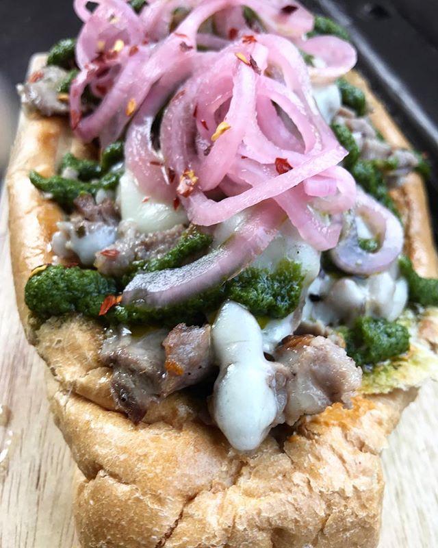 Mojo Pork: chorizo pâté + roast mojo pork shoulder + provolone + chimichurri + pickled red onion . . . . . . . . . . . . . . . #baltimoreeats #bmoreeats #baltimorefoodie #mybmore #porklove #eeeeeats #eatfamous #huffpotaste #foodandwine #bonappetit #visitbaltimore #sandwichlove #beerbar #gastropub #craftbeerbar #alewifebaltimore