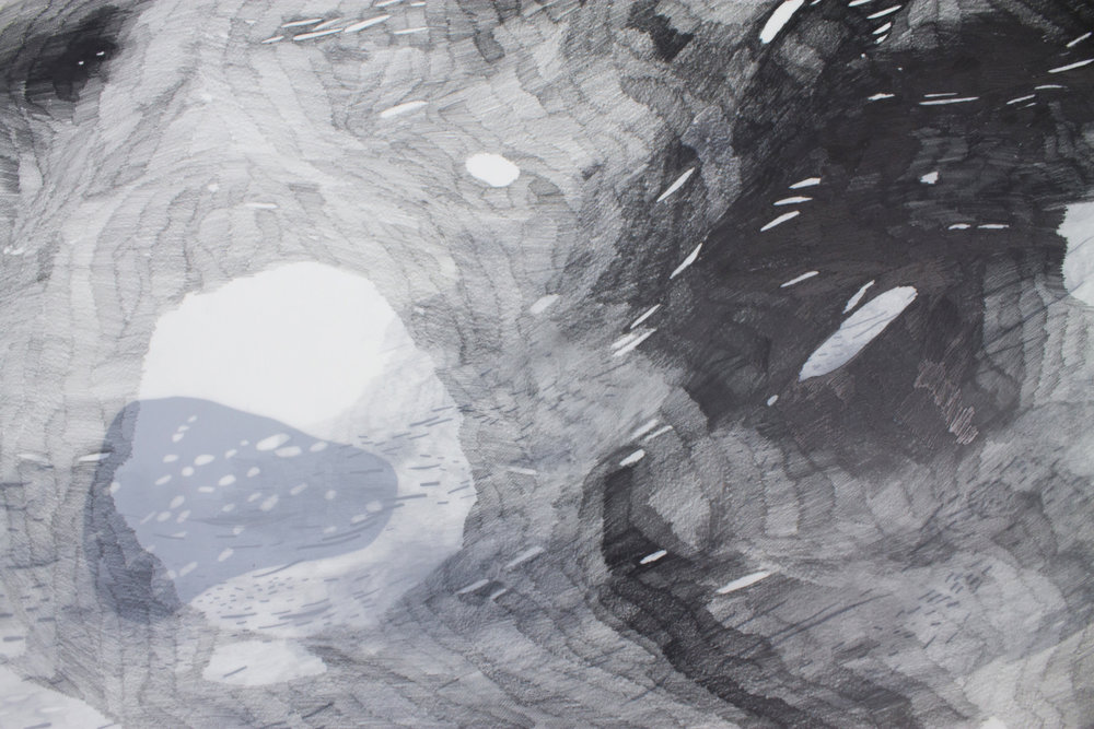 "(Detail), Graphite, mylar, cut paper, 22x30"", artist: Hannah Ireland"