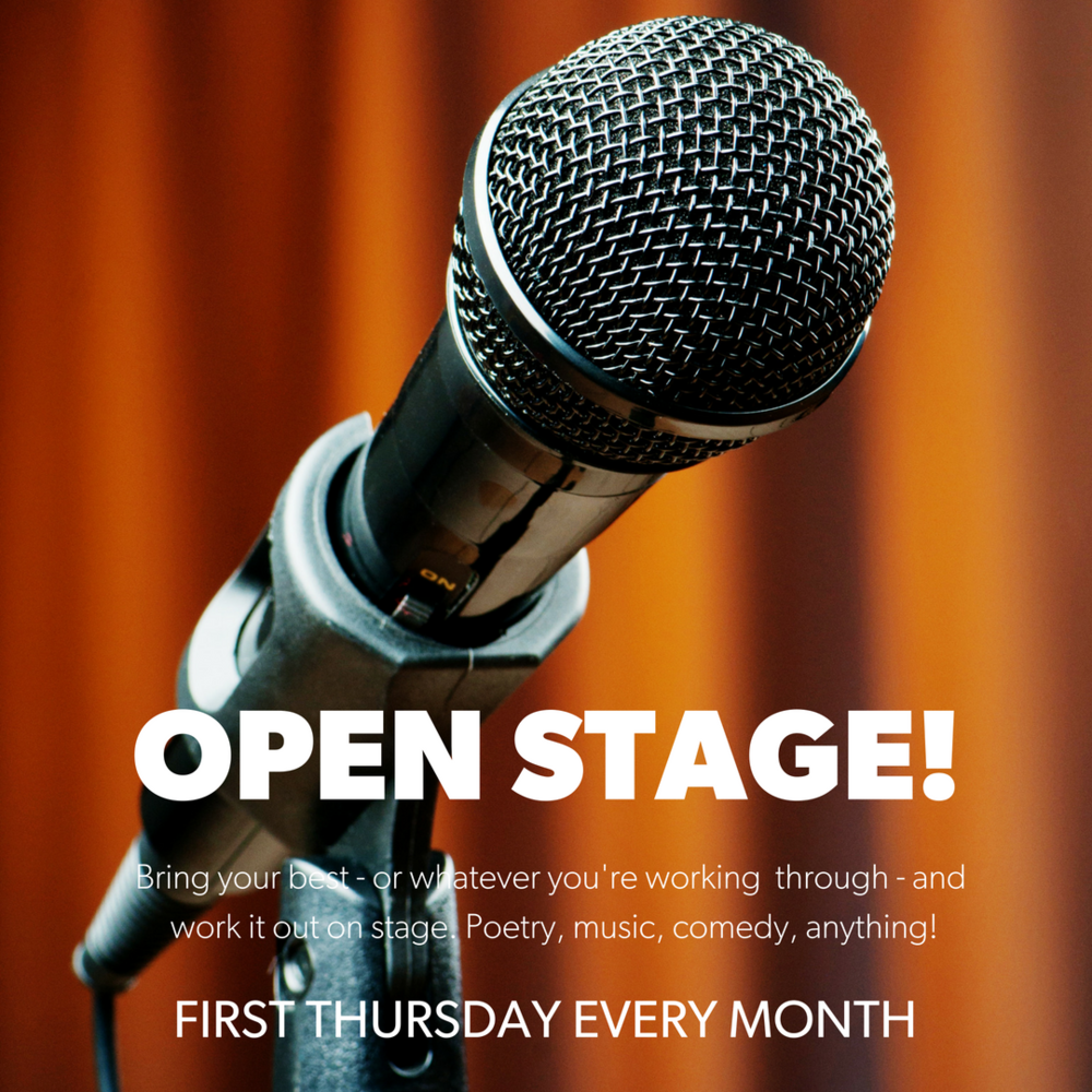 Bring your best - or whatever you're creating - and work it out on stage. Poetry, music, comedy, writing, anything goes! See you on the first Thursday every month!