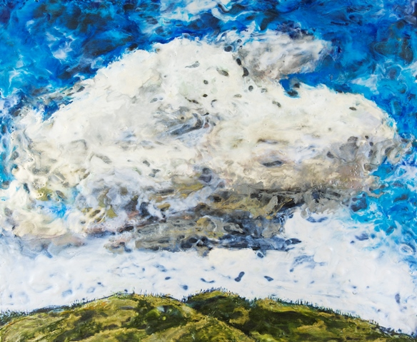 Nicole Bauberger, Storytelling Cloud, 2015. Encaustic on panel. 20 x 24 in.