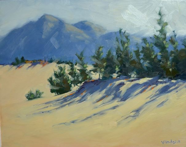 Valerie Hodgson, Sand and Shadows, a morning scene at Carcross desert. Oil on Canvas. 16 x 20 in.